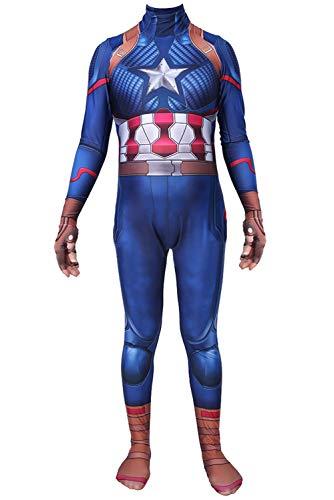 Erwachsene Endgame Lycra Spandex Captain America Cosplay Kostüm 3D Drucken Zentai Bodysuit Jumpsuit Herren - Captain America Bodysuit Kostüm