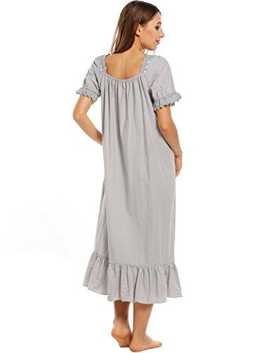 cooshional Retro Nachtkleid damen baumwolle kurzarm Rundhals Vintage Nachthemd Unterwäsche einfarbig Grau