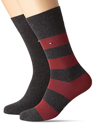 Tommy Hilfiger Herren TH Men Rugby 2P Socken, Mehrfarbig (Bordeaux 070), 39/42 (Herstellergröße: 039) (2erPack) -