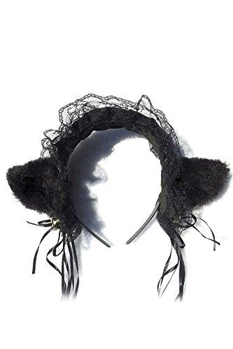 Vococal® COS Peluche Lace Bandeau Hairclip Chat Oreilles Forme Cheveux Boucle Cheveux Hoop Tête Décoration Noir
