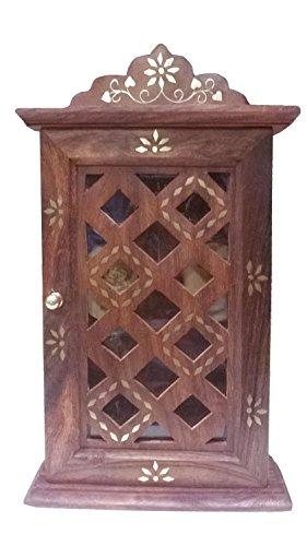 Stylla London Schlüsselkasten mit Glas Tür Panel Checks Design, Holz, braun, 5,6x 22.35X 26.92cm