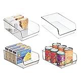 mDesign Aufbewahrungsbox groß – ideal zur Küchen Ablage, im Küchenschrank oder als Kühlschrankbox – 4 Stück, durchsichtig