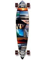 "Yocaher en blanco y gráfico completo Longboard Skateboard Pintail W/71mm ruedas, Seaside, 40"" x 9"""