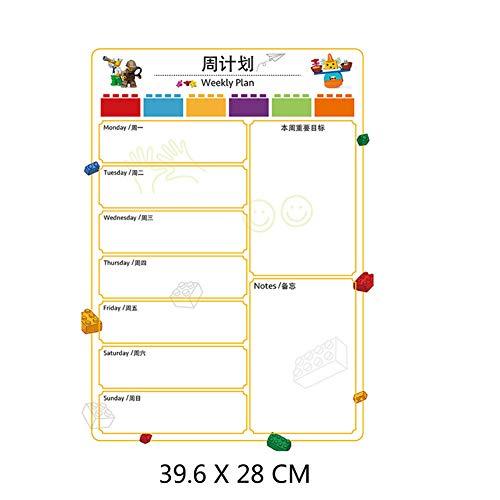XM&ZF Magnetisches Kalender Board,Wöchentliche Planer Whiteboard Trocknen sie Erase Message Board Wandaufkleber Familie Hinweis Für kühlschrank Office Student-G