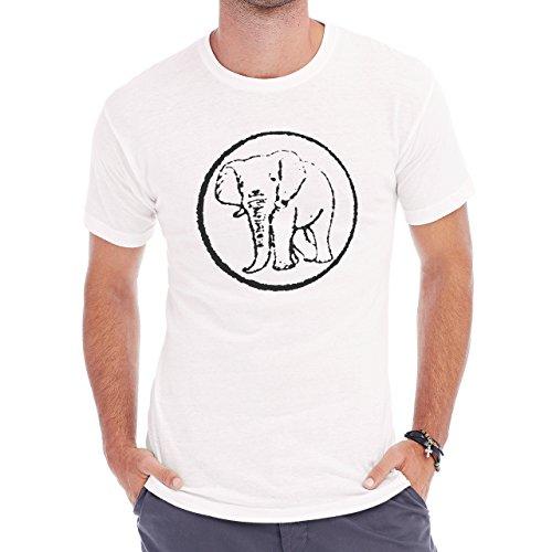 Elephant Stamp Black White Round Herren T-Shirt Weiß