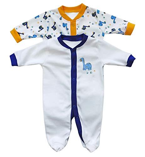Schlummersack Baby Schlafanzug/Schlafstrampler im Doppelpack mit niedlichen Druckmotiven in verschiedenen Designs für Jungen und Mädchen
