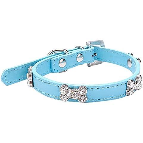 Ularma Collar de perro, Mascota collar con hueso plástico y Bling Crystal (M, azul)