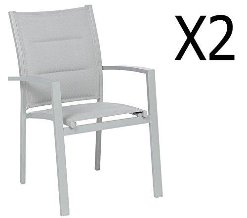 PEGANE Soldes Lot de 2 fauteuils de Jardin en Aluminium Coloris Silver Mat - Dim : L 62 x P 56 x H 90 cm