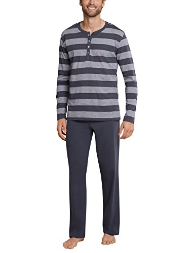 Schiesser Herren Anzug lang Zweiteiliger Schlafanzug, Grau (Anthrazit 203), Medium (Herstellergröße: 050)