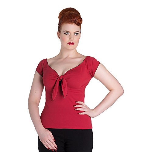Top Bardot Hell Bunny (Rosso) Rosso