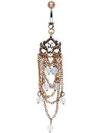 Kultpiercing–Piercing para ombligo Vintage colgante de oro Chandelier Ombligo, Rose