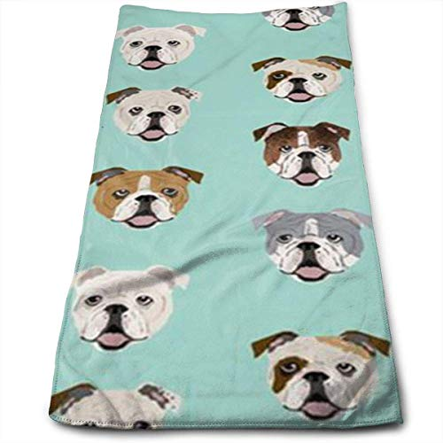 Osmykqe English Bulldog Microfiber Personalized 3D Design Pattern Towel, Can Be Used for Hair Towel, Beauty Towel, Sports Towel, Car Towel, Furniture Towel,12x27.5'in