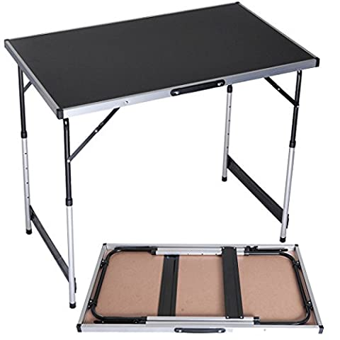 DXP Aluminum Folding Camping Pasting Table Desk with Handle Height Adjustable 100x60x(73/80/87/94) cm Foldable Multifunction EWT01