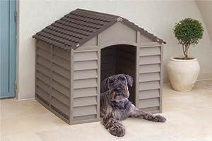 Dog Kennel Plastic Durable Outdoor Dog Home Shelter Kennel Mocha Green Beige