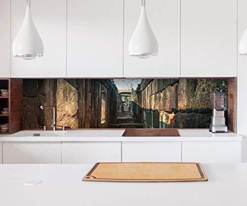 Aufkleber Küchenrückwand Ruine alt antik Mauer Steine Durchgang Bau Kitchen Küche Folie Fliesen...