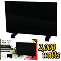 Electric Panel Heater Radiator Glass Black Portable Free Standing Wall Mounted (1000w)