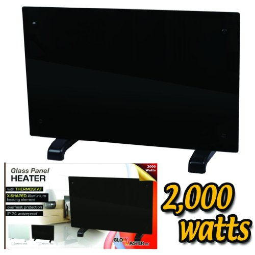 41pBy4fVPCL. SS500  - Electric Panel Heater Radiator Glass Black Portable Free Standing Wall Mounted (2000w)