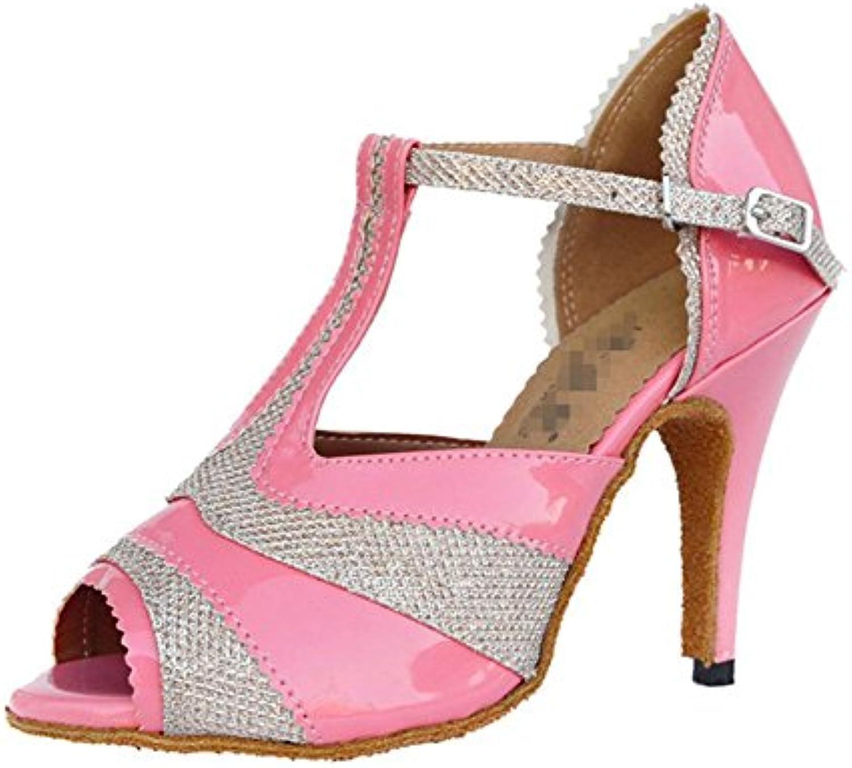Sandali donna salsa latin samba tango ballroom pelle scamosciata soft soles fibbia t-strap dance scarpe rosa ....   Durevole    Uomini/Donna Scarpa