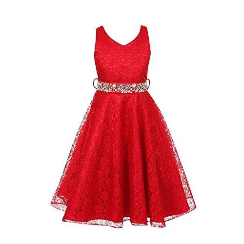 Free Fisher Mädchen Abendkleid Spitzenkleid, Rot, Gr.146( Herstellergröße: 10)
