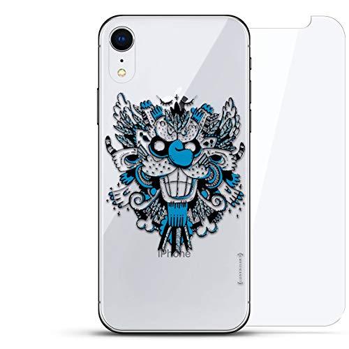 Luxendary Schutzhülle für iPhone EXR, unsichtbar, Cooles Design, gehärtetes Glas, Fantasie: Blaues Monster mit Flügeln, farblos