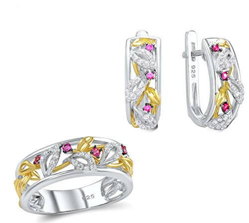 saysure-jewelry-set-for-women-pink-created-sapphire-size-6