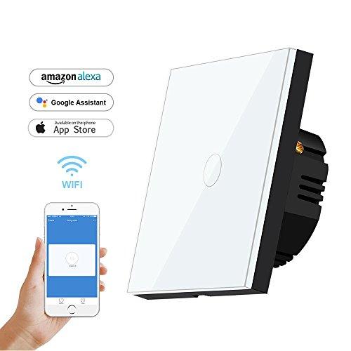 Wlan lichtschalter,Bagotte Smart Home Wifi Schalter 1 Weg Kompatibel für Alexa and Google Home, Gehärtetes Glas Touch lichtschalter with Fernbedienung and Timing-Funktion - (1 Pack,White)…