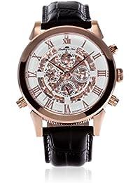 Lindberg & Sons SK14H012 - Reloj automatico analogico de pulsera con diamante real y con correa de cuero negro, para hombre, visualizacion de 24 horas, diseño esqueleto