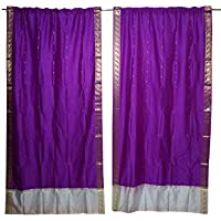 Mogul Interior Window Treatment Panels Purple Silk Curtains Drapes Vintage Panel set 84x44