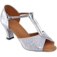 De Las Mujeres Verano Nuevo Adulto Tacón Medio Baile Latino Lentejuelas Zapatos De Baile De Salón