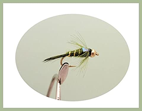 12 Pack of Gold Bead Flash Head Olive Nymph Fishing Flies, Mixed Size 10/12/14 & 16