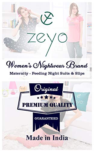 ZEYO Women's Cotton Heart Print Feeding Maternity/Night Dress (Navy Blue: XX-Large)