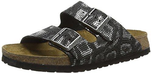 Birkenstock Damen Arizona Leder Pantoletten, Schwarz (Royal Python Black), 39 EU