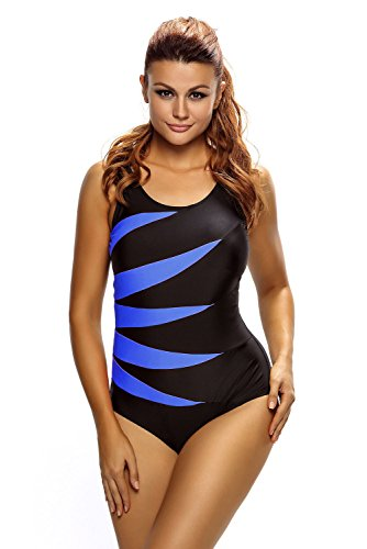Neue Plus Größe Damen schwarz & blau Flash Lace Up Zurück One Piece Bademode Monokini Sport Beachwear Badeanzug Größe XL UK 14EU 42 (Zurück Monokini)