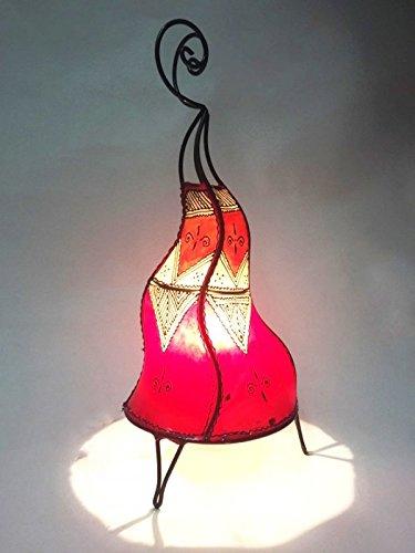 Orientalische Tischlampe Saba 50cm Lederlampe Hennalampe Lampe | Marokkanische kleine Tischlampen aus Metall, Lampenschirm aus Leder | Orientalische Dekoration aus Marokko, Farbe Orange, Natur, Rot