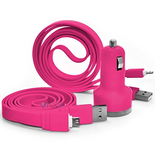 hot-pink-vodafone-smart-first-7-in-car-dual-port-21-amp-bullet-usb-charger-2x-micro-usb-data-sync-ca