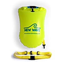 New Wave Swim Buoy - Swimming Tow Float and Drybag for Open Water Swimmers and Triathletes - Light and Visible Float for Safe Training and Racing Bundle with Waterproof Pouch (Green PVC Medium-20L Bundle)