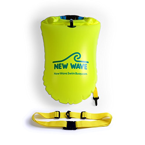 New Wave Swim Buoy - Swimming Tow Float and Drybag for Open Water Swimmers and Triathletes - Light and Visible Float for Safe Training and Racing Bundle with Waterproof Pouch (Fluorescent Yellow PVC Medium-20L Bundle)