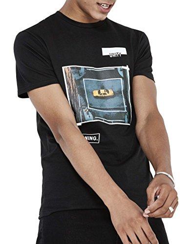 Celio Herren T-Shirt Jeunity Noir (Black)