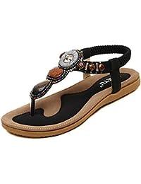 Ouneed® Sommer Süße wulstige Clip Zeheebenen Bohemian Herringbone Sandalen Flip Flops Damen Erwachsene Zehentrenner (37, Rosa)