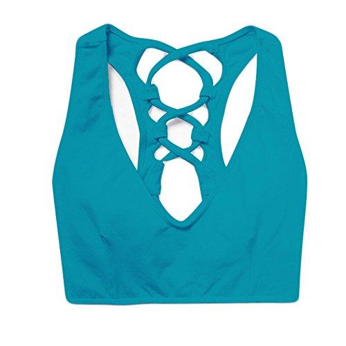 WintCO Sous-vêtements Femmes Sportif avec Bandages Croisés Soutien-Gorge de Sport Yoga Lingerie d'Entraînement Sans Armature Multicolor Bleu