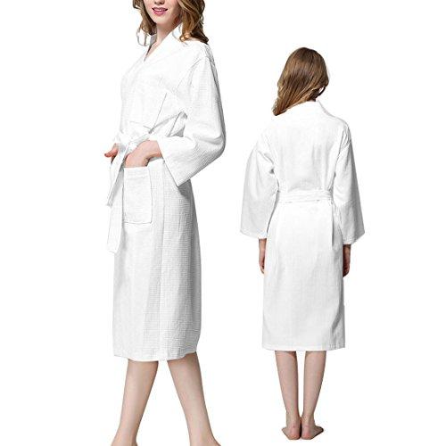 Lady Cotton Waffle Kimono Bathrobe Belted Spa Robe Knee-length Sleepwear de - Belted Check