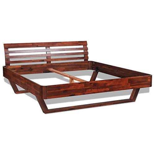 Festnight- Bettgestell Holzbett Bettrahmen Doppelbett Bett aus Massives Akazienholz Geeignet für Matratzengröße 180 x 200 cm