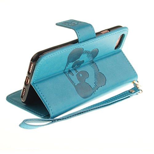 Ekakashop Custodia iphone 7 4.7 inch, Cover iphone 7 2016 model, Elegante borsa Custodia in Pelle Protettiva Flip Portafoglio libro Case Cover per Apple iphone 7 4.7 inch / con Carte Slot / Chiusura M Blu