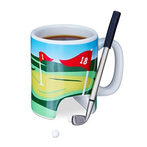 Relaxdays Golftasse mit Schläger, Putter mit Kugelschreiber, 2 Golfbälle, lustiges Golfgeschenk, Golf Kaffeetasse, bunt -