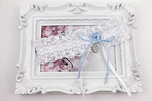 Exklusives Brautkleid (Strumpfband zur Hochzeit mit Schleife blau)
