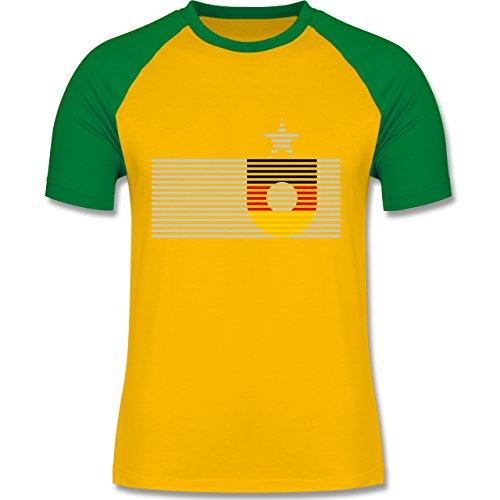 EM 2016 - Frankreich - Deutschland Streifen - zweifarbiges Baseballshirt für Männer Gelb/Grün