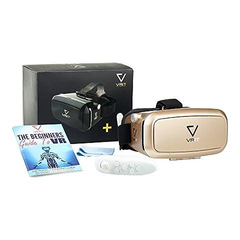 Top VR Headset Set + Bluetooth-Fernbedienung + Ratgeber Virtual Reality, Der 3-D-Virtual-Reality-Kit, Genießen Sie VR-Spiele, Apps und Filme auf Ihrem Mobiltelefon. Funktioniert mit Android, IPhone und allen Telefonen zwischen 4-6 Zoll Diagonale
