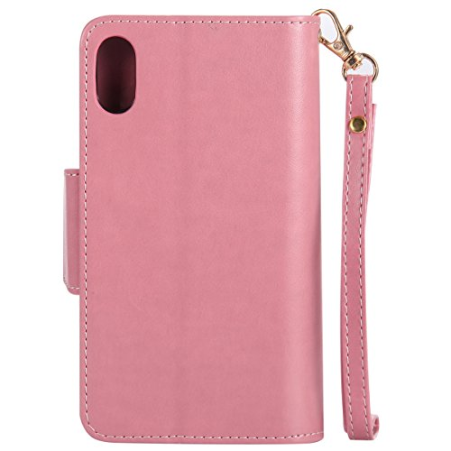 Protective Case Cover for iPhone X,iPhone X Coque PU Leather,iPhone X Neo Case,Hpory élégant Retro PU Cuir Cover Case Book Style Folio Flip Up Stand Fonction Support PU Leather Walllet Case with Credi 18#