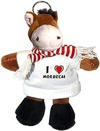 Caballo de peluche (llavero) con Amo Mordecai en la camiseta (nombre de pila/apellido/apodo)