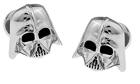 Manschettenknöpfe Star Wars Darth Vader 3D Silber Imperial Logo Rückseite in Geschenkbox